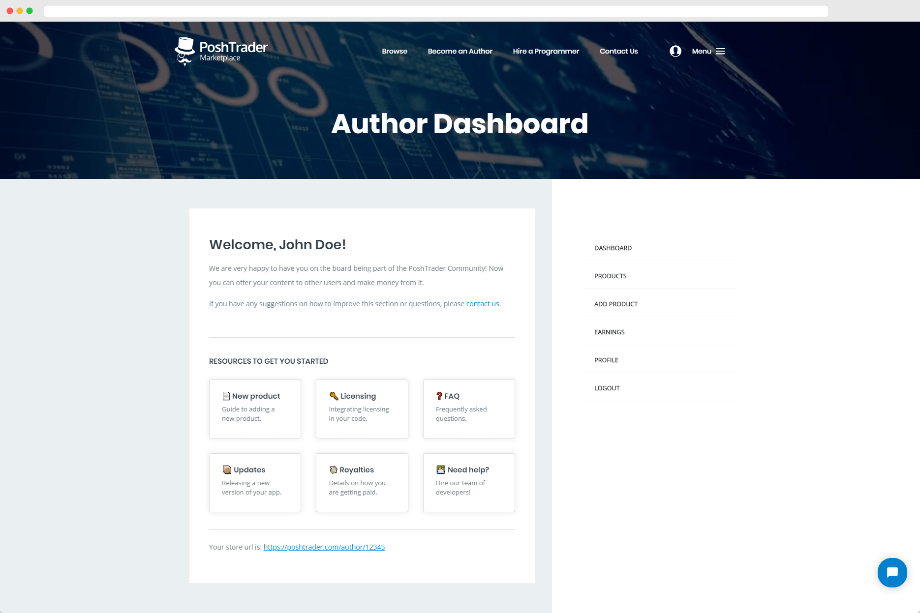 Author Dashboard of PoshTrader Marketplace